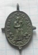 Бронзовая католическая иконка 17век