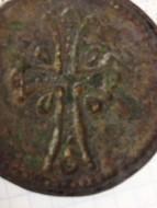 Кулон с изображением святого раскрашенного эмалью, Киевская Русь XII век