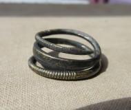 Серебряное височное кольцо с золотой всечкой