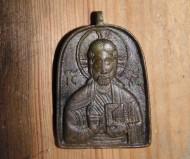 Иконка бронзовая 13-14 в. в. Спас Вседержитель