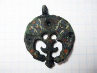 Древнерусская лунница, перегородчатые эмали