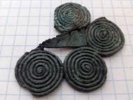 Четыре спиралевидные детали украшения. Чернолесская культура, 8-7 века до н.э.