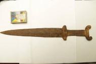 Скифский акинак с когтевидным навершием и ложно-треугольной гардой, V-IV в. до н. э.