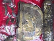 серебряная накладка с изображением зверей
