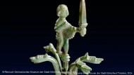 Канделябр с стилизованной фигуркой воина и головами драконов