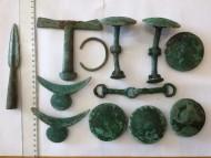 Набор Киммерийского воина, бронза: фаллары, удила, псалии, браслет, рукоять меча, наконечник копья