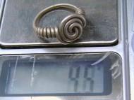 Спиралевидный серебряный перстень Черняховской культуры, вес
