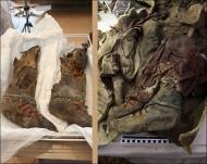 Сапоги после и до извлчения из войлочного савана