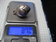 Серебряная пустотелая пуговица
