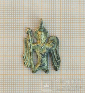 Мелкая древнерусская серебряная позолоченая привеска «Архангел»