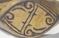 Серебряный в позолоте Золотоордынский перстень S-образный орнамент