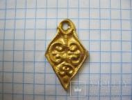 Подвеска ромбическая растительный орнамент ЧК золото