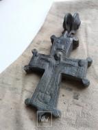 Балканский рельефный энколпион 12 века, большого размера, Распятие Христово - Богородица Оранта с Святыми в медальонах