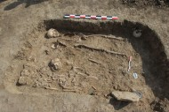 Погребение, в котором были найдены остатки арфы. Некрополь поселения «Волна-1»
