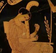 Муза Терпсихора, играющая на арфе. Фрагмент изображения на краснофигурной амфоре,  440 год до нашей эры. Британский музей