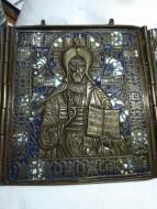 икона-складень 18-19 dtr: Спас Вседержитель. Иоанн Предтеча (Креститель). Богоматерь