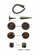 серьга бронзовая, гвоздь бронзовый, наконечник стрелы бронзовый, бронзовые боспорские монеты, фрагмент бусины многоцветного стекла