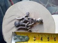Серебряная рельефная украшеная чернью прорезная накладка «Тризуб» «Сокол Рарог»