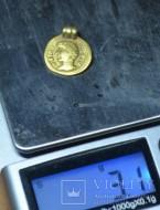Золотой медальон подражание ауреусу с ухом