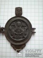 Панагия. 18 век (Богоматерь знамение, Троица ветхозаветная, Распятие христово)