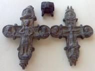 Энколпион Распятие Христово - Святой воин. 13 нач.14 века