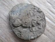 Свинцовая вислая печать митрополита Киевского Константина I (1156-1158) с погрудным изображение Богоматери
