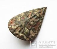 Большая пуговица с эмалью КР, дробница щитовидная, процветший крест крин