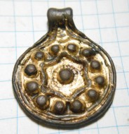 Славянская монетовидная подвеска календарь, позолота