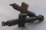 Рельефный энколпион Спас со свитком - св. Николай.12-13 век. Серебряное оглавие