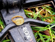 Мишель Валль нашла золотой геральдический перстень, прочесывая область в Дак Бэй с ее металлоискателем