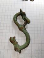 Бронзовый ременной зацеп в виде дракона, эмаль