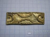 Золотая накладка ЧК. Изображен образно крест., общий вес 2 грм, до христианская эпоха Украины