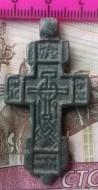 Нательный килевидный крест XV-XVI вв. с изображением Спаса Нерукотворного и избранных святых