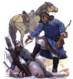 Монгольский легкий конник догнал руского, около 1223 г.