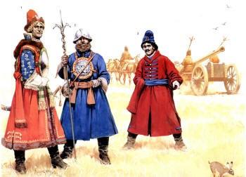 Московские артиллеристы 17 век. В парадной униформе носят большие нагрудные диски - аламы