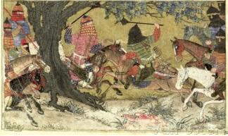 Бой Ардашира и Бахмана, сын Ардавана. иллюстрация из Шах-наме 1325-1350