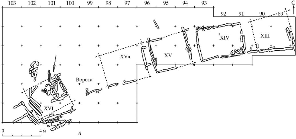 План южной линии укреплений и воротного проезда окольного города Изяславль