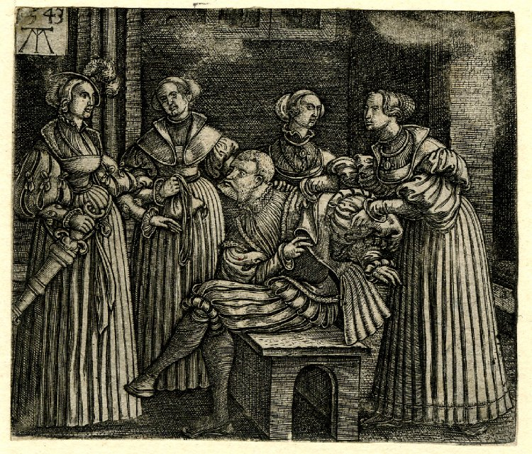 The Parable of the Prodigal Son; Monogrammist MT (Print made by); Plate 5: The courtesans stripping the Prodigal Son of his clothes. 1543 Engraving