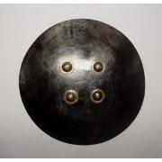 Большой индийский щит дхал  из шкуры носорога, лакированная черным цветом