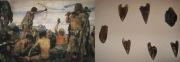 Картина В. Васнецова «Каменный век» и обсидиановые наконечники стрел.