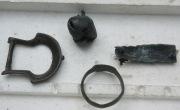 Древнерусские изделия из металла: пряжка, бубенчик, перстень, ременная накладка
