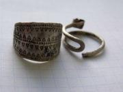 Серебрянный перстень и височное кольцо Киевской Руси