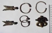 Серебряные цикады, колты,  позолоченная пряжка, браслеты