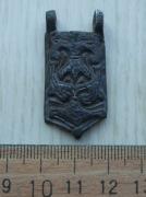 Поясная накладка с со стилизованнным орнаментом трезубца и сокола