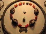 """Комплекс """"княжеских"""" украшений 10-12 века. 1.лунница-золото.2.колты-серебро в позолоте.3.камень с бус-сердолик.4.шэйная гривна -бронза в посеребрении.5.пуговицы-серебро.6.жолуди с ожерелья-серебро."""