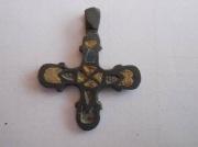 Бронзовый древнерусский крестик с разноцветной эмалью