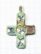 Крестик бронзовый Киевской Руси, выполненный в технике перегородчатой эмали