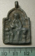 Змеевик: Богородица с младенцем на престоле