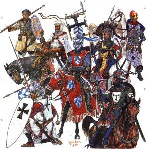 Реконструкция возможной экипировки войск ливонского ордена, дерптского епископата и их союзников на время битвы при Чудском озере