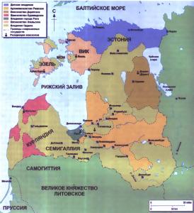 Карта Ливонии. На ней обозначены территории, подконтрольные различным владетелям.